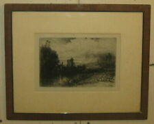 Antique 1859 SEYMOUR HADEN 'On the Test' Etching - Hampshire UK Stream Landscape