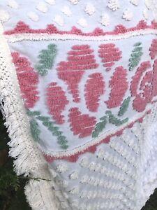 Vintage White Pink Roses Cotton Chenille Bedspread MCM Cottagecore Fringe