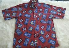 Savane Mens Size Large Red Sailboat Short Sleeve Button Front No Wrinkle G-18