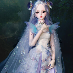1/3 Ball Jointed Girl 60cm BJD Doll + Face Makeup + Eyes + Wigs + Clothes Outfit
