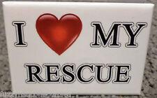 "I Love My Rescue 2"" x 3"" Refrigerator Locker MAGNET Dog Cat Breed Canine Heart"