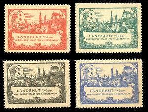 Germany Poster Stamps - Landshut Tourism Publicity - c.1897 - 4 Different