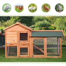 "58"" Chicken Coop Rabbit Hutch Cage Large House Wood Wooden Habitat Animal Pet"