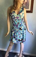 JB BY JULIE BROWN Women's Multicolor Wrap Sleeveless Dress Size Small EUC