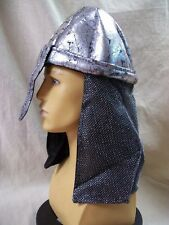Silver Black Knight Helmet Hat Fake Mesh Chainmail Armor Noble Medieval Warrior