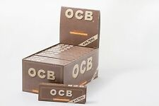 1 Box (24) - OCB Medium Virgin Slim Unbleached Rolling Paper With Filter Tips