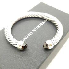 David Yurman Sterling Silver & 14k Gold 7mm Cable Smokey Quartz Bangle Bracelet