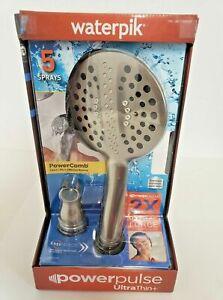 """New WATERPIK  UltraThin+ Hand Held 6"""" Shower Head W PowerPulse Massage Powercomb"""