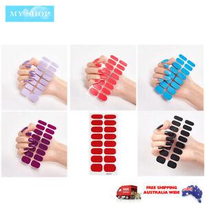 16pcs Nail Stickers Nail Wrap Self Adhesive Full Cover Nail Art Solid Colour 1