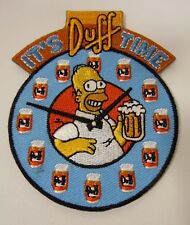 """""""It's Duff Time""""-DUFF BEER- w/Homer Simpson - Embroidered Iron-On Patch - 3"""" NEW"""