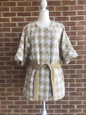 Anthropologie Elevenses Women's Tan White Kimono Belted Soft Coat Jacket XS NWT
