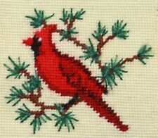 Vintage needlepoint needle point cardinal christmas completed stitched unframed