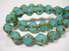 15 10x8mm Czech Glass Aqua Blue Opal Picasso Bicone Beads