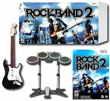 Official Nintendo Wii-U/Wii ROCK BAND 2 Special Edition Bundle drums guitar game