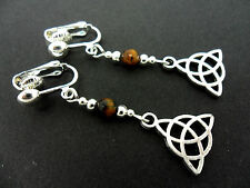 A PAIR OF TIBETAN SILVER TIGERS EYE BEAD CELTIC KNOT CLIP ON EARRINGS. NEW.