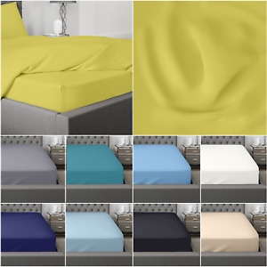 Extra Deep 35cm Fitted Sheet Bed Sheets 100% Egyptian Cotton Single Double King