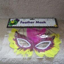 Mardi Grau Feather Mask - Yellow/Marroon/Pink