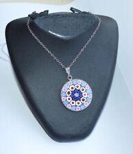 "Vintage Enamel Charm  Silver 18"" Necklace"