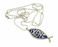 Ichthys Jesus Christ Christian Fish Symbol Stainless Steel Pendant Necklace