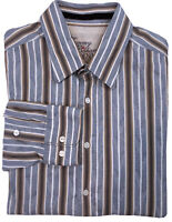 TOMMY BAHAMA DENIM Mens Striped Button Down Long Sleeve Shirt Size Large EUC