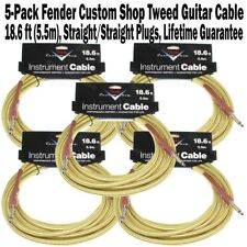 5-Pack FENDER Custom Shop 18.6 ft Tweed Instrument Guitar Cable FG186T Bass NEW