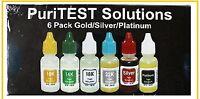 Gold Test Solution Kit One each of 10K, 14K, 18K, 22K, Silver, and Platinum acid