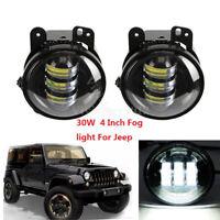 """2x 30W LED Headlight Driving Fog Light 4"""" For Jeep Wrangler Front Bumper Lamp"""