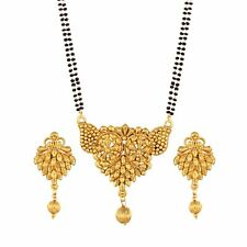 Traditional Ethnic Gold Plated Mangalsutra Set with Earrings for Women