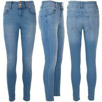 Womens Ladies High Waisted 3 Button Slim Whiskers Faded Ankle Length Denim Jeans