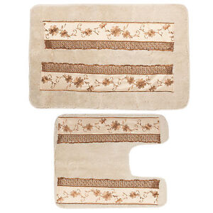 Popular Bath Veronica Bathroom Banded Bath & Contour Rug Set