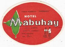 Philippines Manila Hotel Mabuhay Vintage Luggage Label sk3586