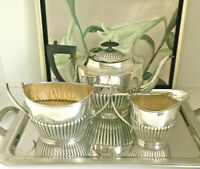 Tee Service Queen Anne Sheffield Silber p Jugendstil Kanne Afternoon High Tea