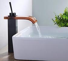 RE Bathroom Black Brass Glass Spout Waterfall Basin Faucet Vessel Sink Mixer Tap