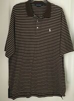 Polo Golf  Ralph Lauren Mens L Pima Cotton Polo Shirt SS  Brown White Striped