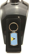 St.Lucia Flag Design on Metal Hexagonal shape Keyring