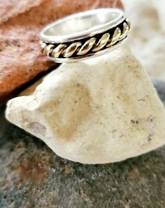 Rare, Retired James Avery 14kt Rope/Sterling Silver Band Ring NEAT!
