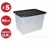 5 x 80 LITRE PLASTIC STORAGE BOX - X LARGE -STRONG CONTAINER -BLACK LID - CHEAP!