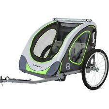Double Child Bicycle Trailer Green Reflective Two Seats Air Tires Bike Cycling