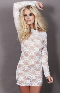 NEW ANN SUMMERS WHITE SHEER SHORT DRESS - SEXY DRESS UP - BOXED GLAMOUR