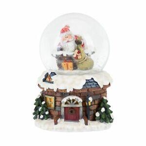 LED Light UP Christmas Snow Globe  Santa Climbing into the Chimney 10cm