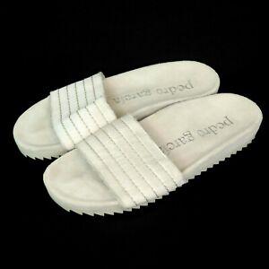 Pedro Garcia Amparo Obi Silver Satin Frayed Slide Sandals   Womens 37 EU 7 US