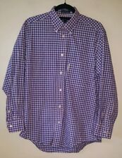 Faconnable Mens Shirt Pink Blue Size 3 15.5 Pure Cotton Checked Longsleeve