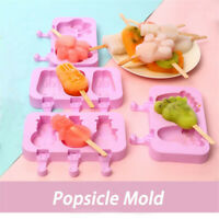 1 Set Pink Silicone Ice Pop Molds Homemade Frozen Ice Cream Popsicle Tray Mold