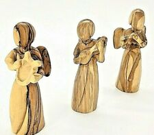 3 olive wood hand carved angel statue playing flute lute harp holy Bethlehem new