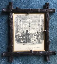 Antique Black Forest Hand Carved Realistic Wood Branch Framed Opera Picture