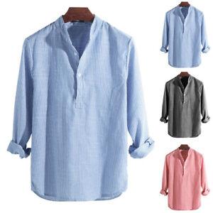 New Mens Casual Cotton+Linen Tops Shirts Summer Long Sleeve Striped Beach Shirt