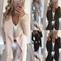 mujer suéter de punto largo jersey abrigo Holgado cárdigan