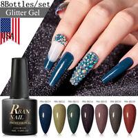 8 Colors/set 8ml RBAN NAIL Glitter Soak Off Nail Gel Polish Varnish Manicure Kit
