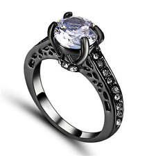 Women's White Sapphire  Wedding Ring  black Rhodium Plated Size 7 Fashion