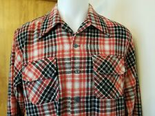 Vtg 60s 70s Jc Penney plaid wool loop collar l/s Shirt L Large Rockabilly